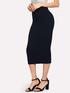 Elastic Waist Solid Pencil Skirt