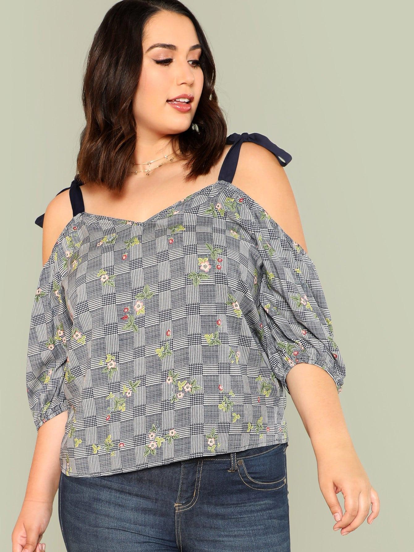 Self Tie Shoulder Floral & Plaid Print Top open shoulder plaid top