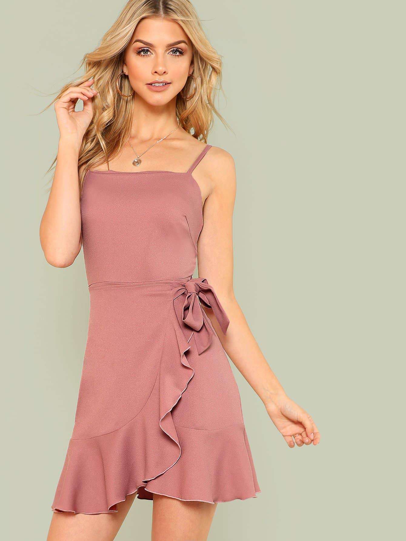 Ruffle Trim Overlap Hem Cami Dress ruffle trim overlap hem dress