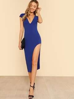 Plunge Neckline Split Side Dress