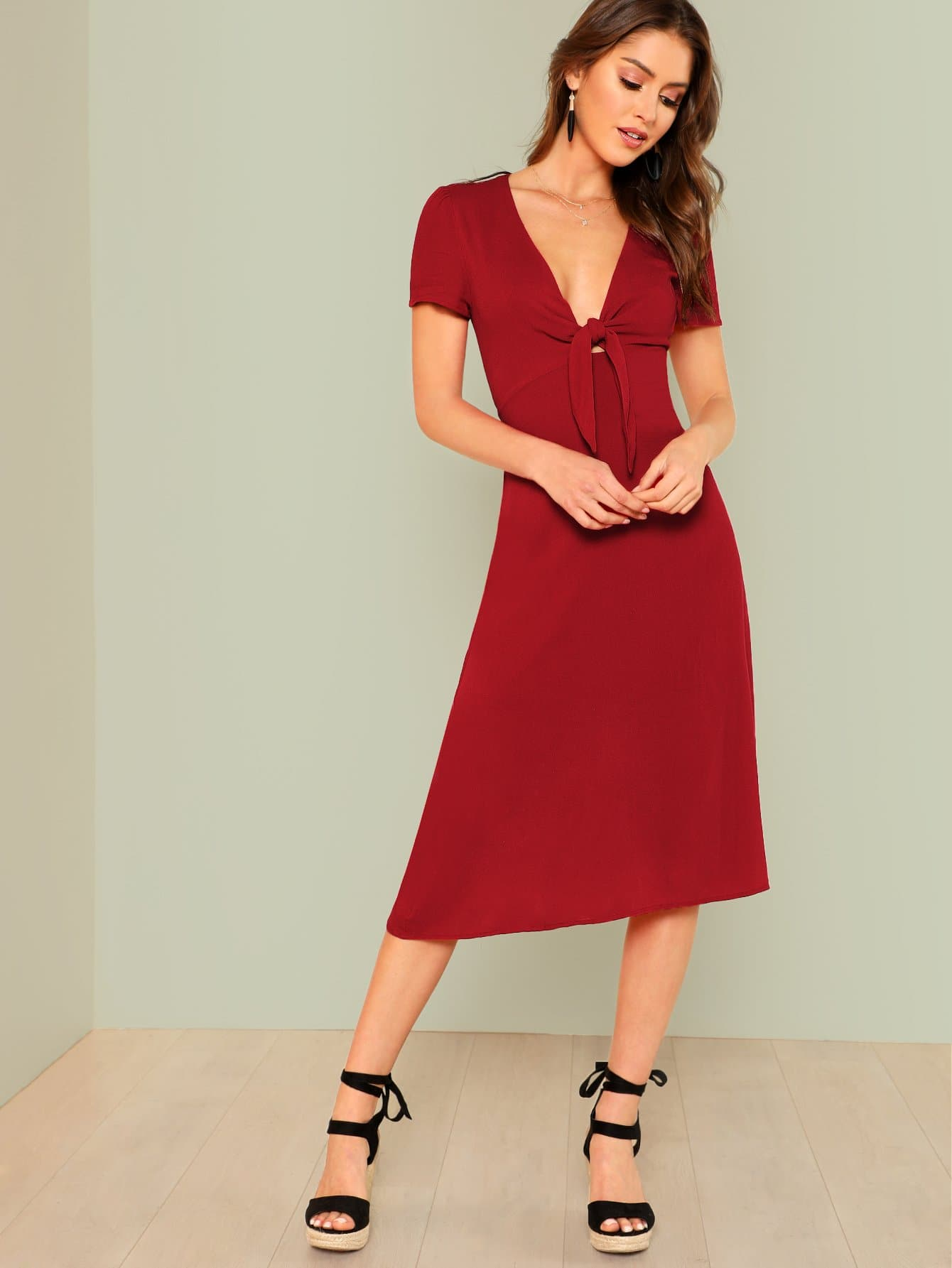 Knot Front Fit & Flare Dot Dress knot front fit