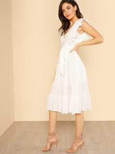 Plunging Neck Self Belted Ruffle Dress