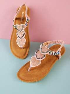 Bead Embellished T-Strap Sling Back Flat Sandal BLUSH