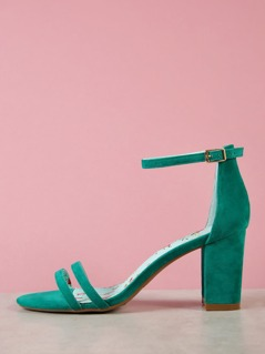 Faux Suede Ankle Strap Chunky Heel GREEN