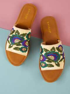Floral Embroidered Wide Band Slide Sandal BLUE