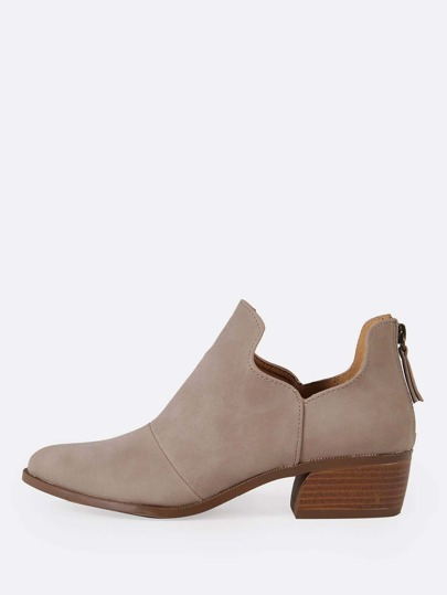 Split Shaft Almond Toe Bootie TAUPE