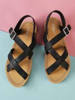 Asymmetrical Strap Sling Back Flat Sandal BLACK