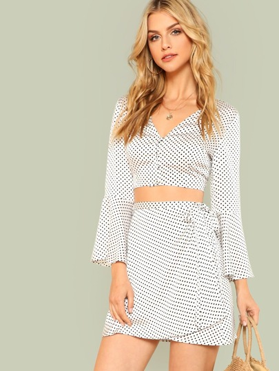 Trumpet Sleeve Polka Dot Top & Wrap Skirt Set