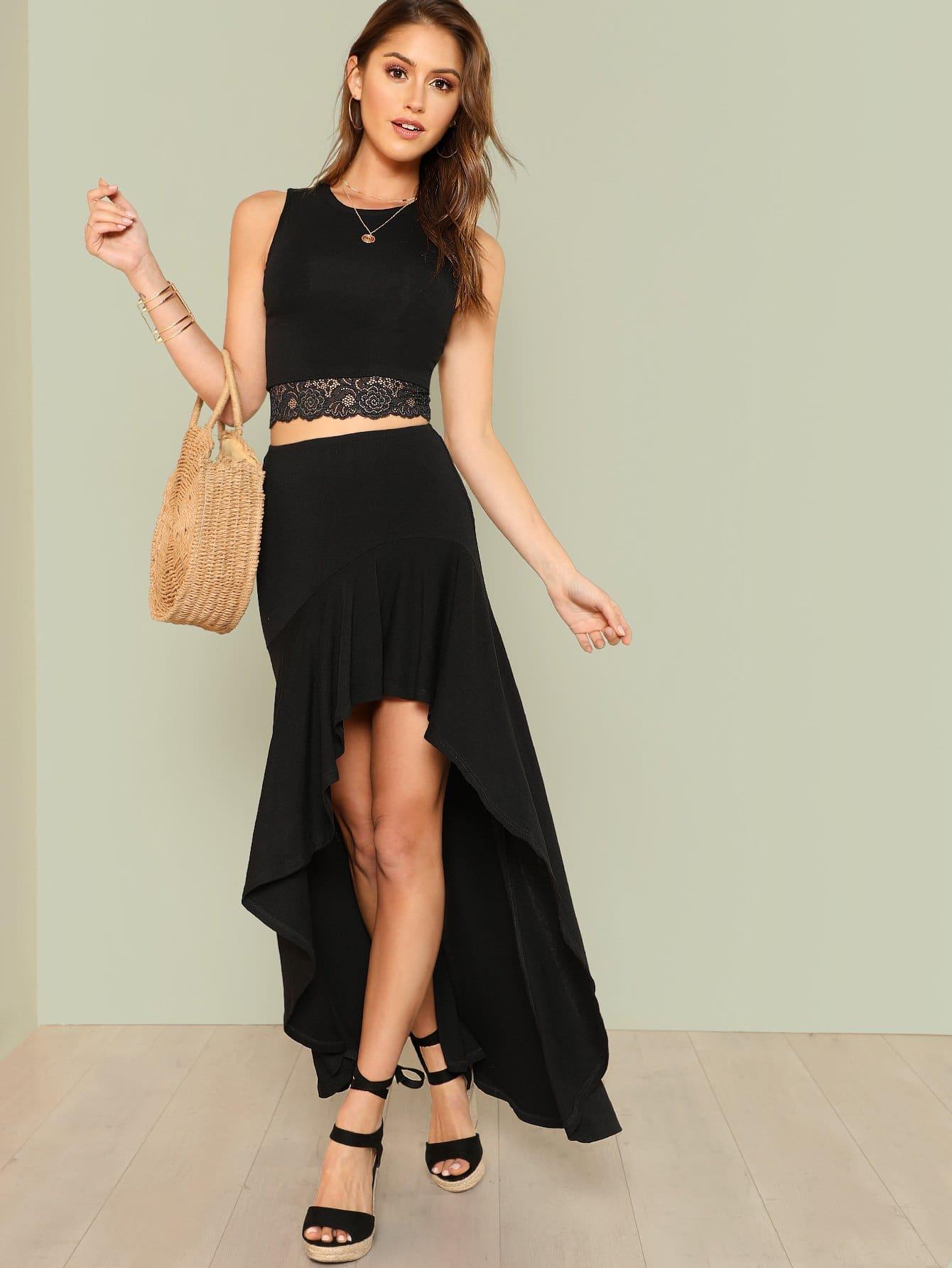 Lace Hem Crop Top & Asymmetrical Ruffle Skirt Set ruffle hem lace skirt