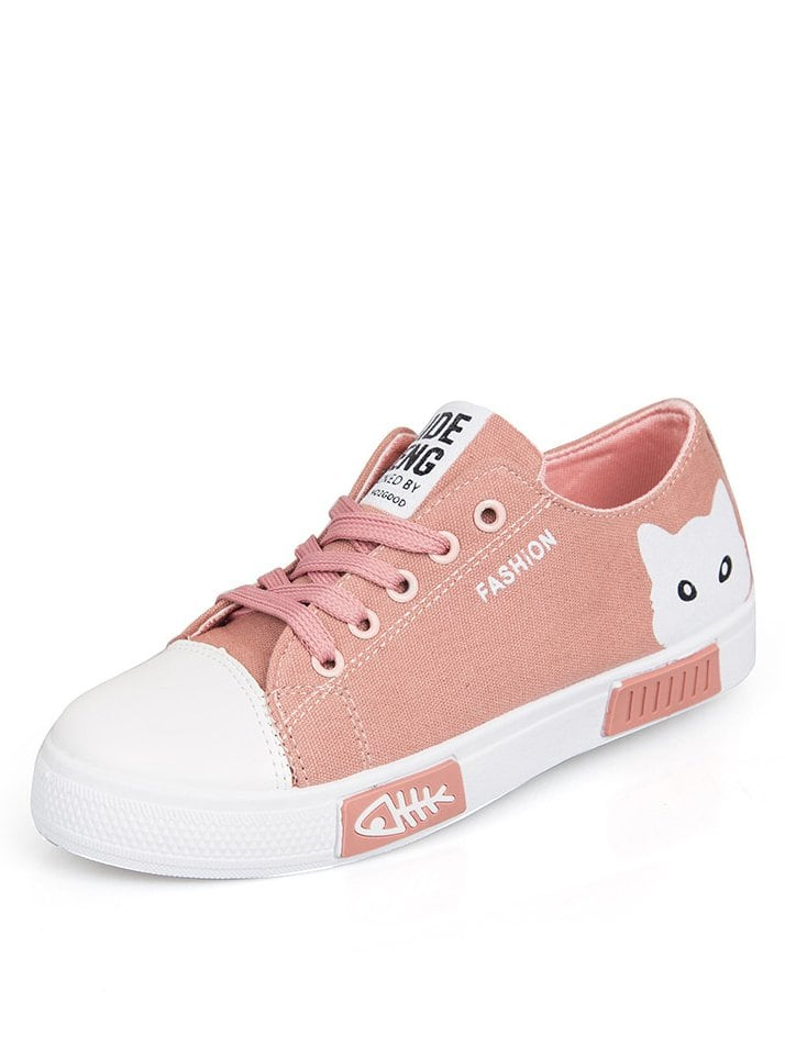 Cartoon Print Lace Up Low Top Sneakers
