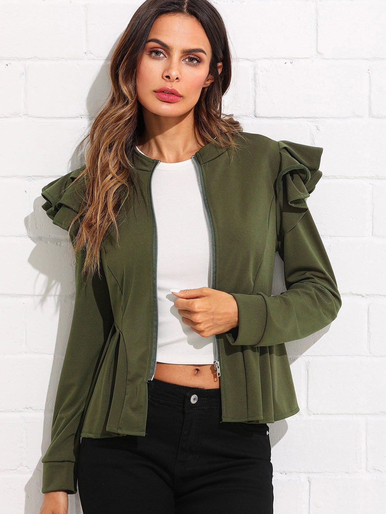 Tiered Ruffle Trim Jacket tiered layer ruffle jacket