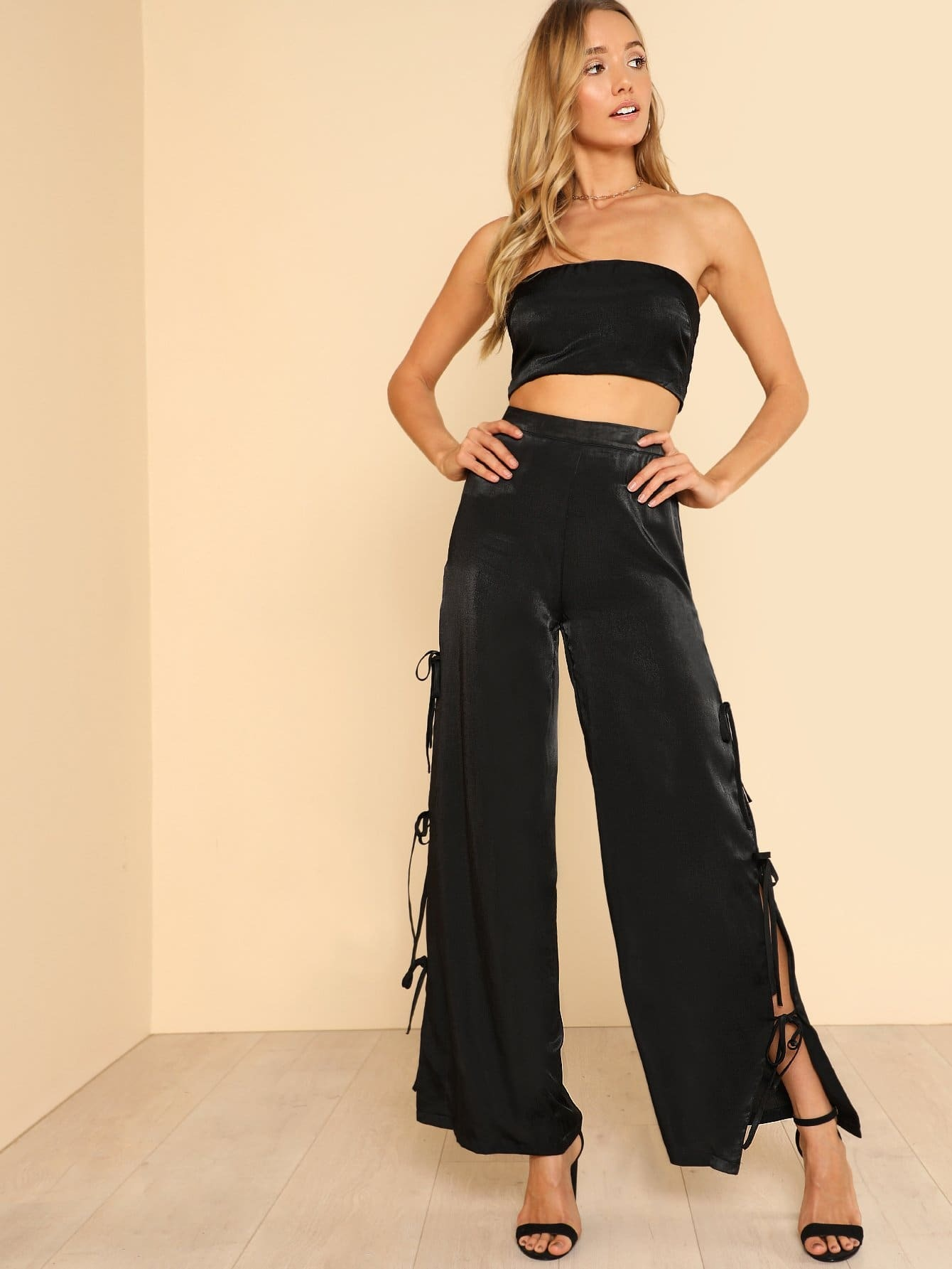 Satin Bandeau Top & Tie Side Wide Leg Pants Set bow tie side wide leg pants