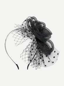Polka Dot & Net Detail Hair Fascinator