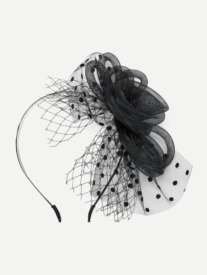 Polka Dot & Net Detail Hair Fascinator