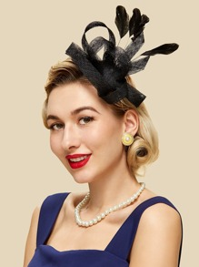 Floral Hair Fascinator With Feather