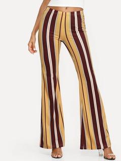 Vertical Striped Flare Hem Pants