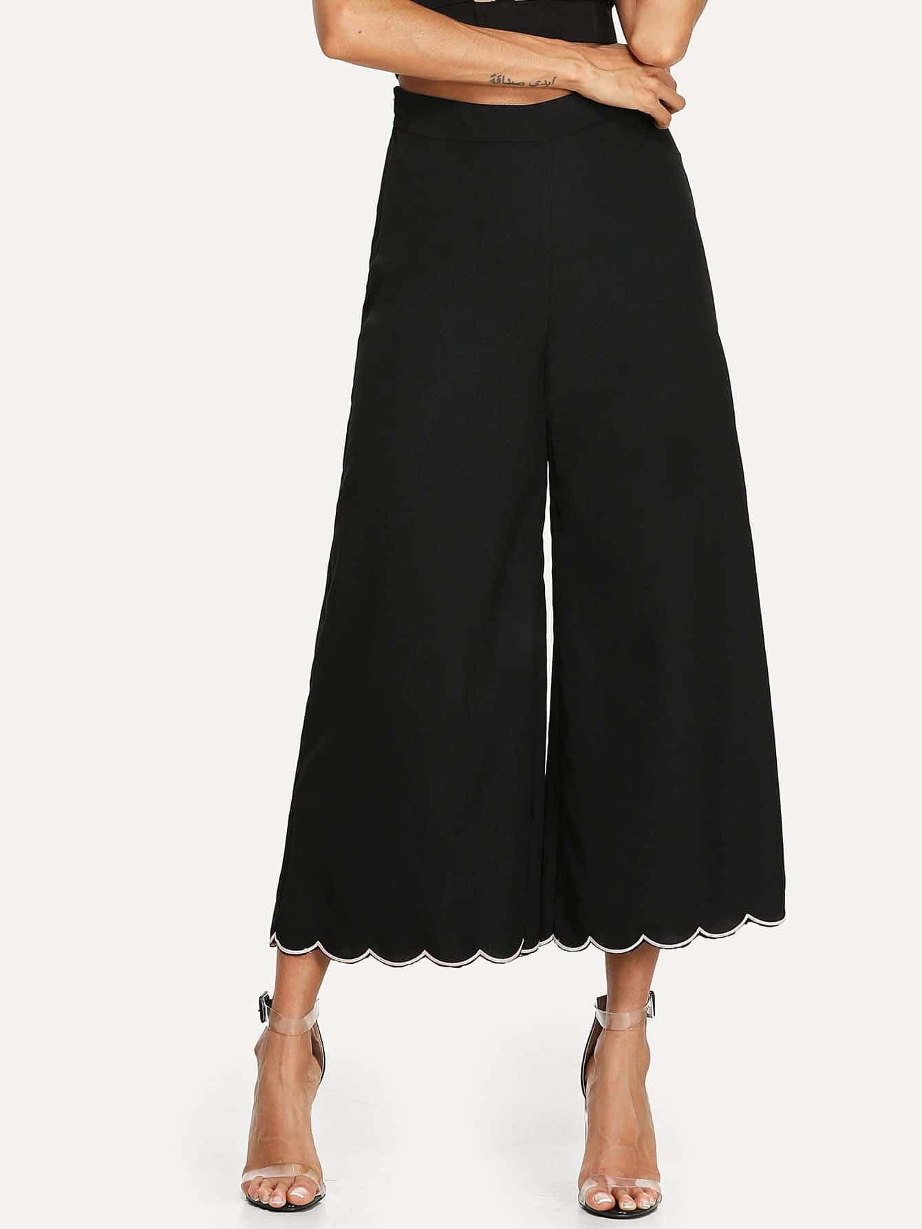 Scallop Flare Hem Pants gingham embroidery scallop hem pants