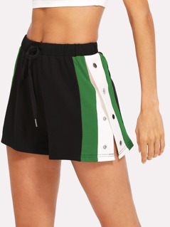 Side Striped Button Embellished Shorts