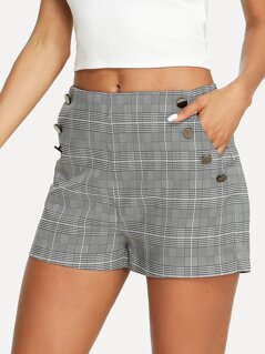 Button Detail Pocket Side Plaid Shorts