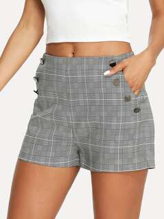 Pocket Patched Plaid Shorts