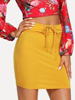 Lace Up Waist Skirt