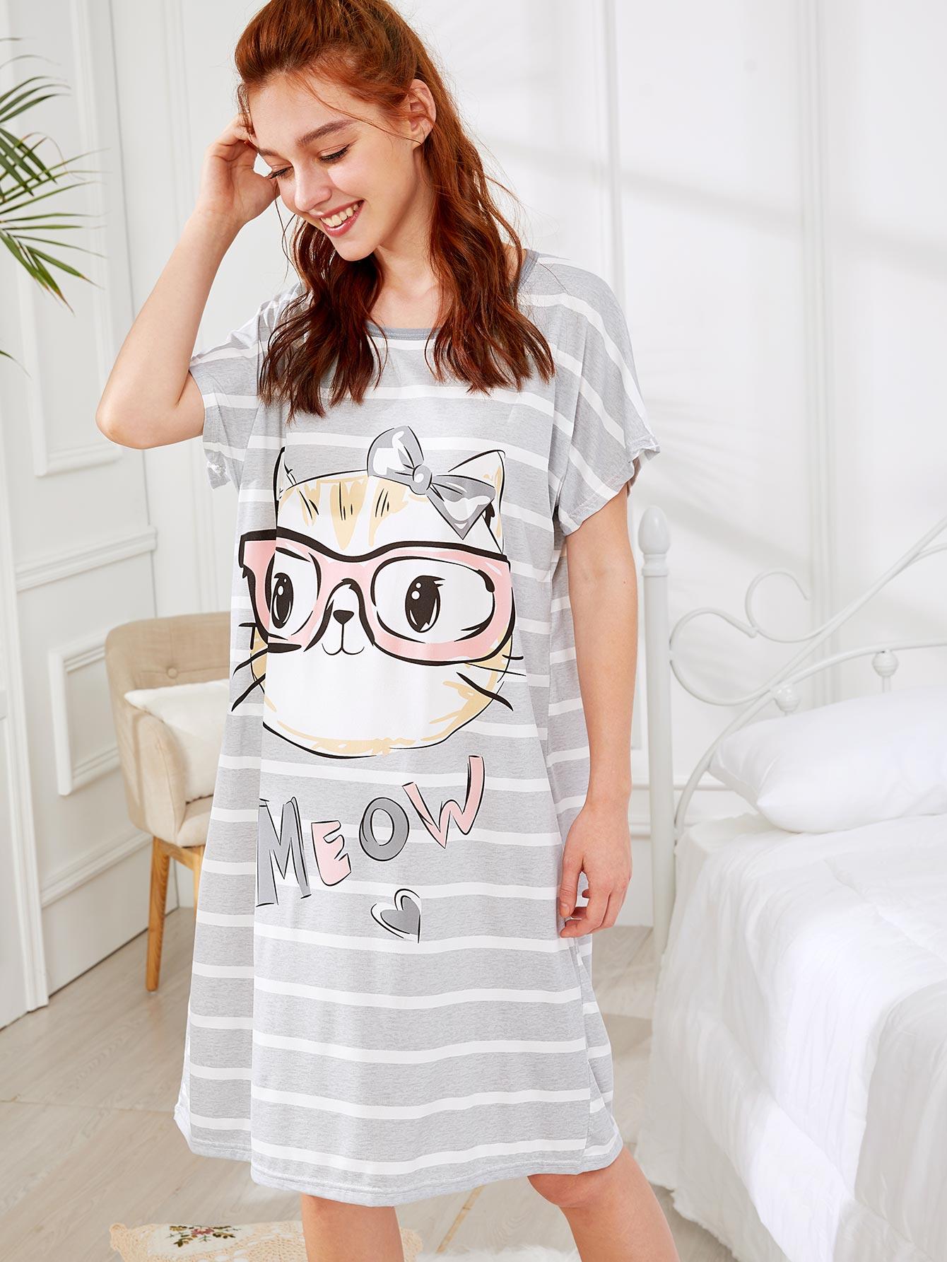 Cat Print Striped Dress kids cat embroidered striped dress