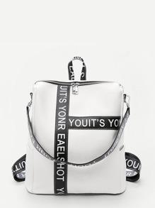 Slogan Print Pebble Embossed Backpack