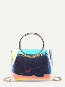 Double Ring Handle Chain Bag With Clutch