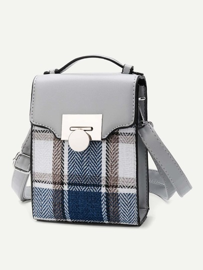 Plaid Flap Shoulder Bag