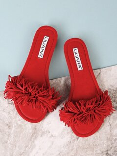 Faux Suede Fringe Band Slide Sandal RED