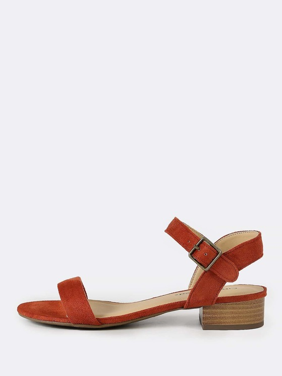 9b94a51e14d8 Faux Suede Ankle Strap Low Block Heel RUST