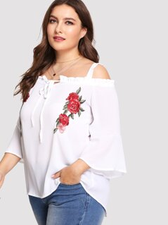 Plus Embroidered Flower Applique Bell Sleeve Cold Shoulder Top