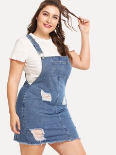 Raw Hem Distressed Denim Overall Dress