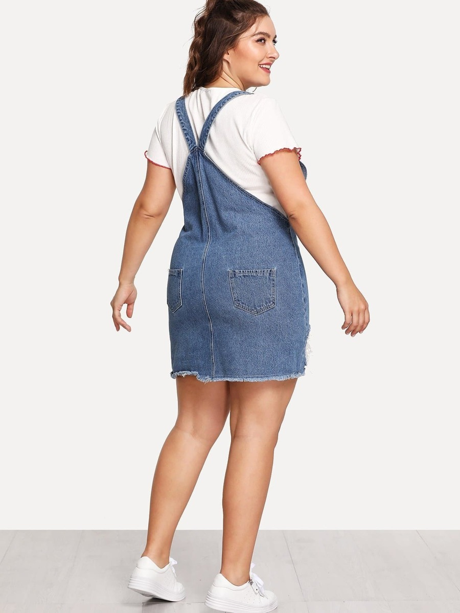Raw Hem Distressed Denim Overall Dress by Shein