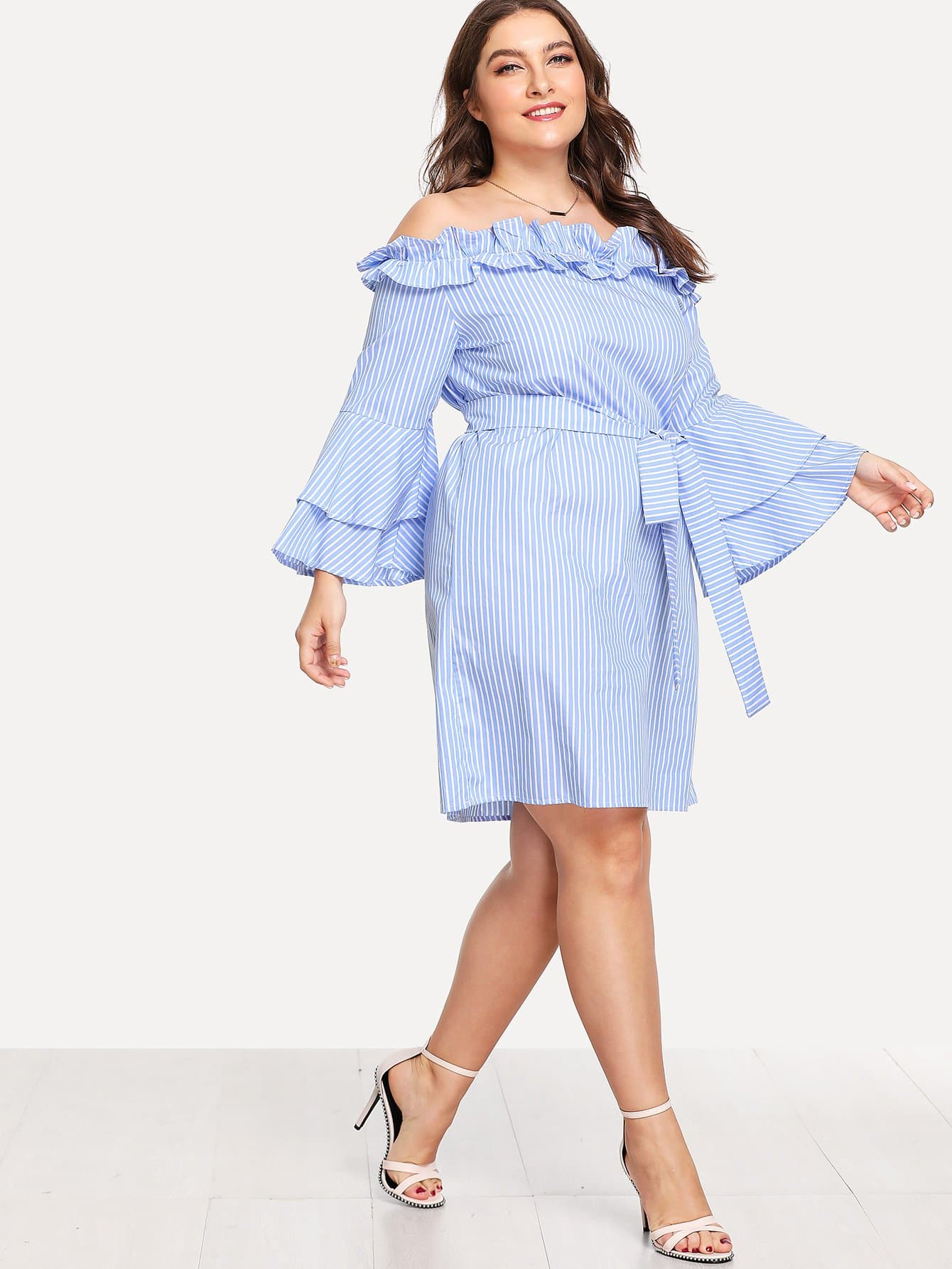 Layered Trumpet Sleeve Belted Ruffle Bardot Dress pearl detail layered frill sleeve top
