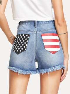 Printed Pocket Raw Edge Denim Shorts