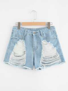 Light Wash Destroyed Denim Shorts