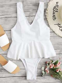 Low Back Ribbed Peplum One-piece Swimsuit
