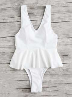 Low Back Ribbed Peplum Swimsuit
