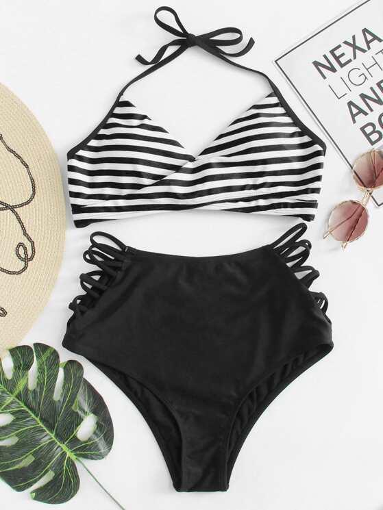 181a4a7aa8 Cross Wrap Halter Top With High Waist Bikini Set | MakeMeChic.COM