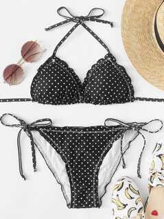 Self Tie Polka Dot Top With Tie Side Bikini Set
