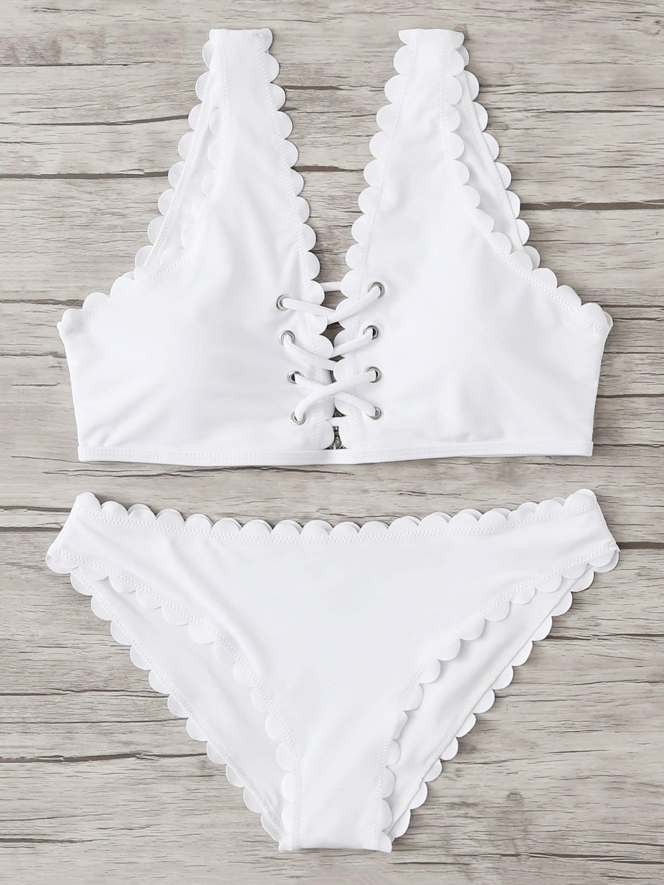 Scallop Trim Criss Cross Bikini Set contrast trim criss cross halter bikini