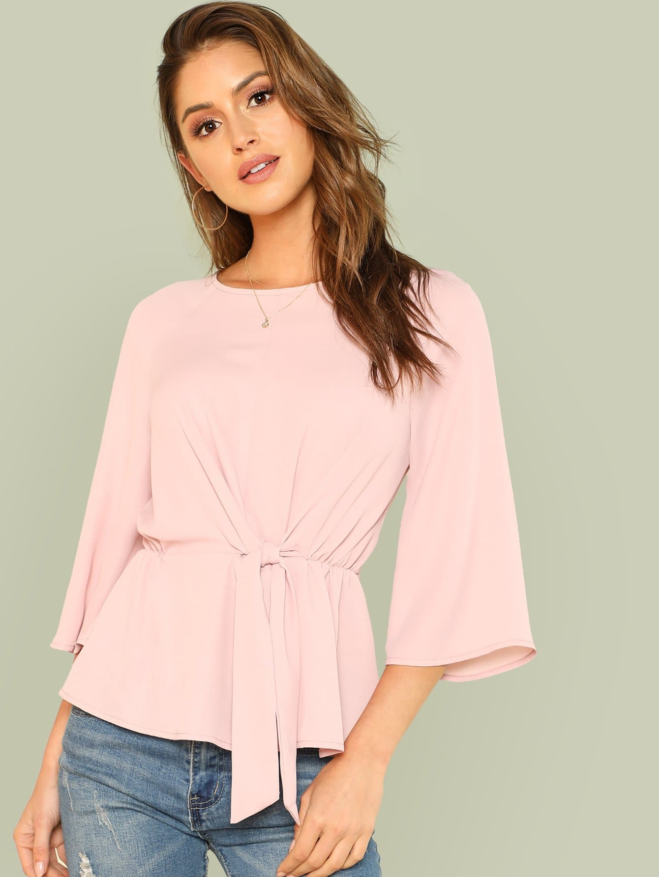 Knot Front Keyhole Back Top knot front keyhole back flounce sleeve striped top