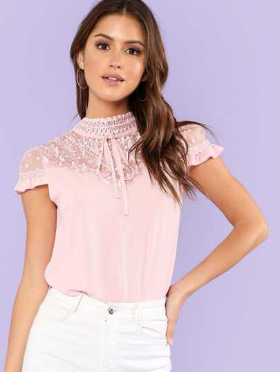 Embroidery Mesh Yoke Blouse