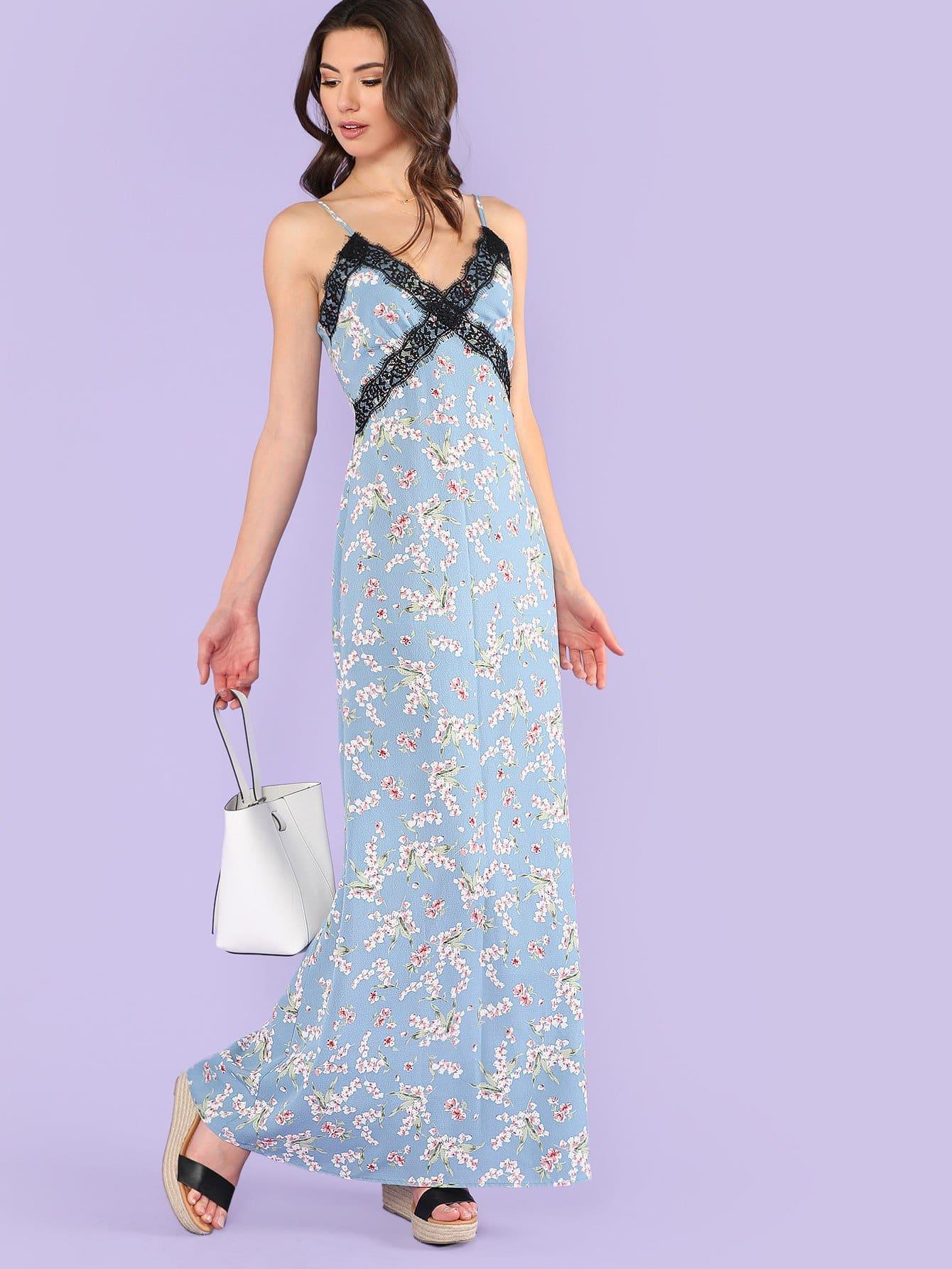 Eyelash Lace Applique Floral Cami Dress floral applique cami bikini set