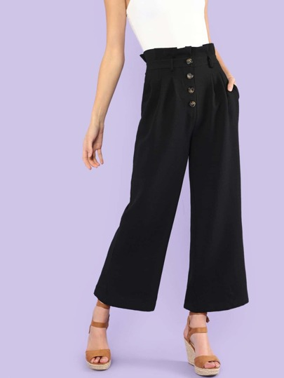 Button Up Front Wide Leg Pants