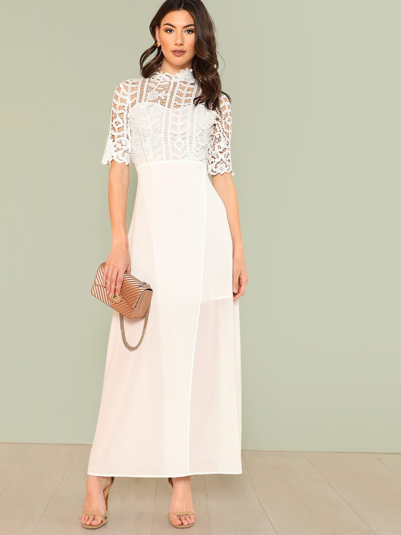 Купить Платье с запахом и кружевами, Zandria Theis, SheIn