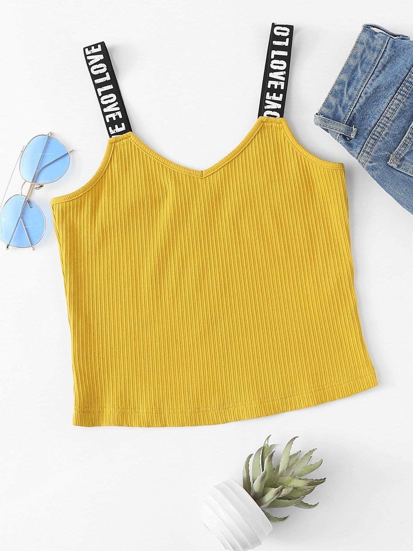 Rib Knit Printed Thick Strap Cami Top rib knit tank top