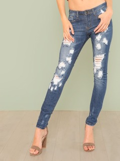 Dark Wash Distressed Skinny Leg Jeans BLUE