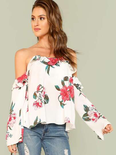 Off Shoulder Floral Long Sleeve Top IVORY